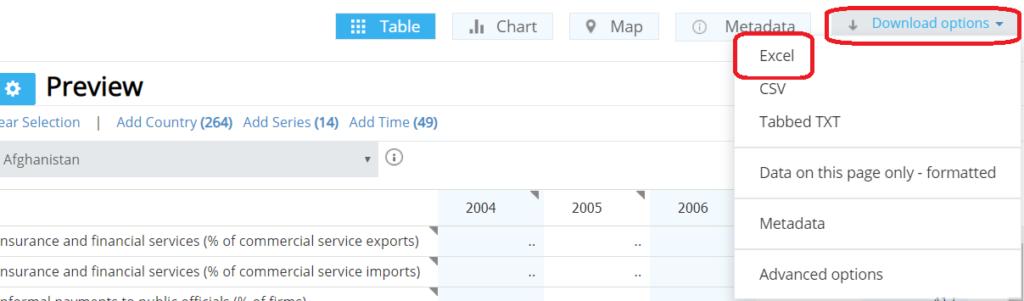 World Bank Data Export